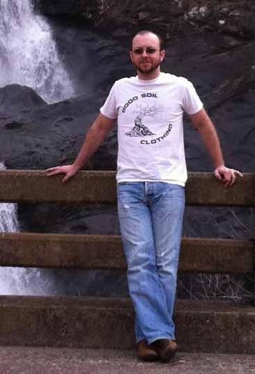 Samuel Burger at waterfall