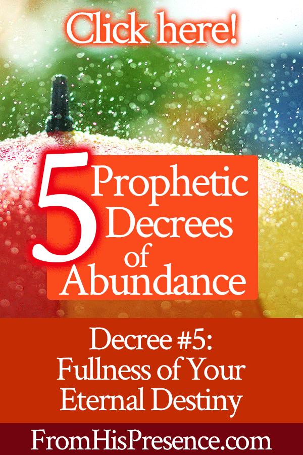 Prophetic Decrees of Abundance | Decree #5 Fullness of Your Eternal Destiny | by Jamie Rohrbaugh | FromHisPresence.com | Prayer and declaration for your destiny to happen