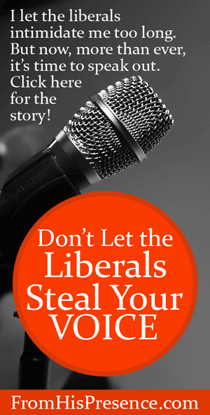 Don't Let the Liberals Steal Your Voice by Jamie Rohrbaugh | FromHisPresence.com