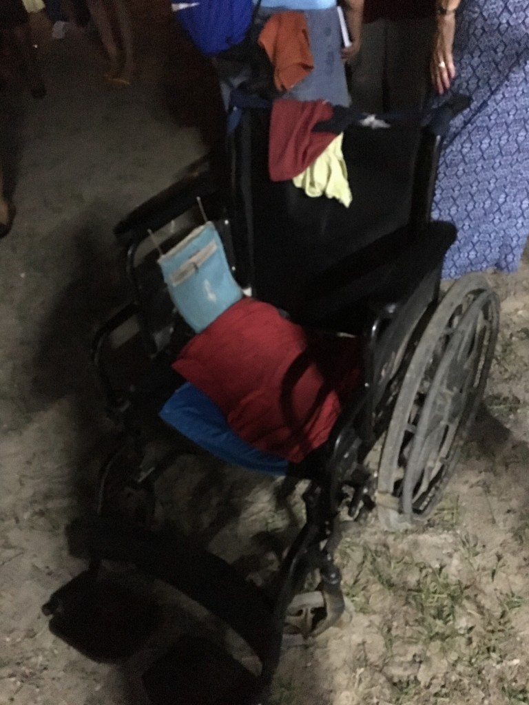 The empty wheelchair--after the little girl who owned it got up and walked after receiving prayer for healing during a crusade.