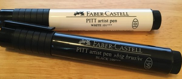 Faber-Castell PITT white and black pens