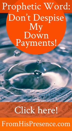 Prophetic Word: Don't Despise My Down Payments! | by Jamie Rohrbaugh | FromHisPresence.com